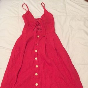 Red eyelet button down dress